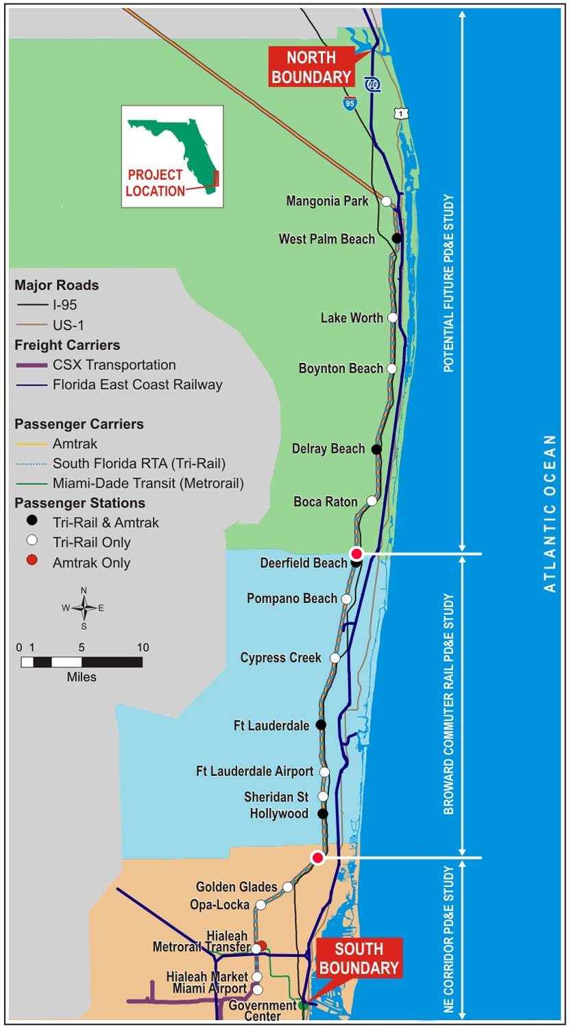 TriRail Coastal Link South Florida East Coast Corridor SFECC - Florida east coast map